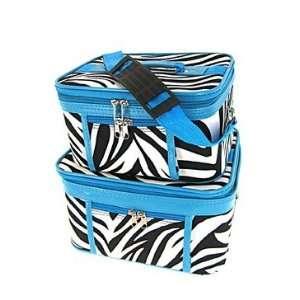 Toiletry 2 Piece Luggage Set Blue Trim Black & White Zebra Print