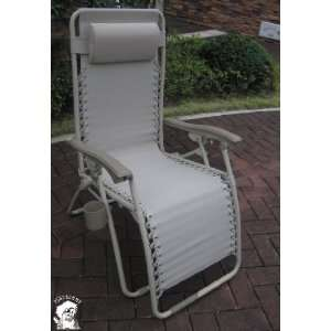 PHAT TOMMY Wide Zero Gravity Folding Lounge Chair   Tan