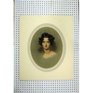 C1850 Hand Coloured Print Beautiful Woman Black Hair Home & Kitchen