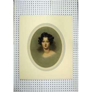 C1850 Hand Coloured Print Beautiful Woman Black Hair Home & Kitchen
