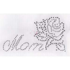 Mom    Rose Iron On Hot Fix Transfer Rhinestone    Clear