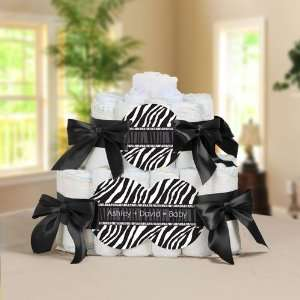 Personalized Square   2 Tier Diaper Cake   Baby Shower Gift Baby