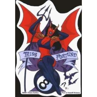 Sexy Devil Woman with Pitchfork, Skulls, Bat & 8Ball   Sticker / Decal