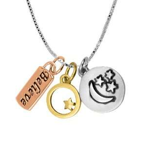 Sterling Silver with14k Gold Plated Tri Color Believe with Moon and