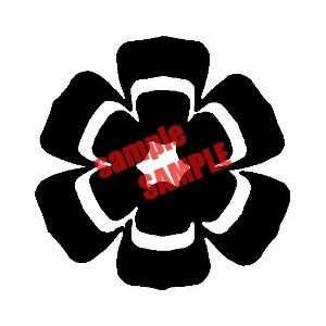 LOTUS FLOWER ROUND 4 WHITE VINYL DECAL STICKER Everything