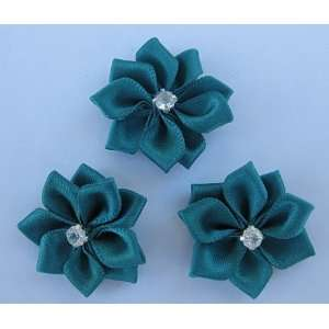 Green Satin Rhinestone Flowers Appliques AS20 Arts, Crafts & Sewing