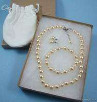 Margot Townsend 10mm GLASS PEARL Necklace BRACELET Earring SET