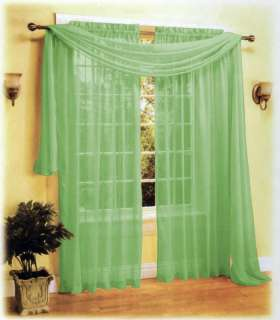 Sheer Panel Voile Window Curtain+Scarf Set Sage/Green