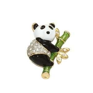 Fancy Gold Tone and Crystals Panda Bear Brooch Pin Elegant
