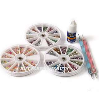 Wheel Nail Art Rhinestone+2 Dotting Tool+Nail Glue ZL