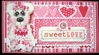 SCRAPBOOK PAGE MAT SET & TITLE, PREMADE SEWN SWEET LOVE VALENTINE