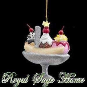 NB0409 4 Banana Split Ice Cream Sundae Christmas Glass Ornament w/box