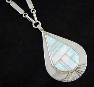 Zuni Harold Smith Sterling Silver Opal Tear Drop Necklace American