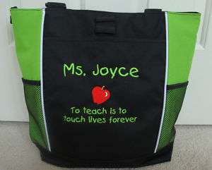 TOTE BAG Personalized Zippered Teacher Touch Lives Gift