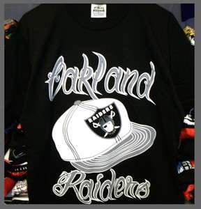 Oakland Raiders T Shirt Vintage Air Brush Style Starter Snapback XL