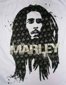 Bob Marley white t shirt 1X 2X Zion Rootswear reggae silver marijuana