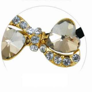 Cute Champagne Crystal CZ Soulmate Heart Women Lady Hair Tie Ponytail