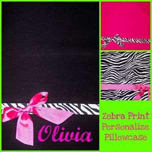 Pink Black Zebra Print Personalized Pillowcase Standard Size