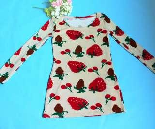 Korean Fashion Strawberry Fruit Design Cute Round Neck Loose Dress