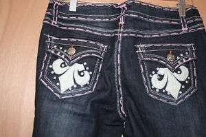 Miss Chic Jeans**   Pink Stitching  Fleur De Lis 1217