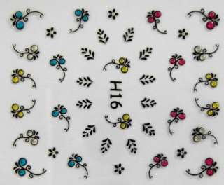 3D Nail Art Sticker Flower Leaf Color Rhinestones H16 006