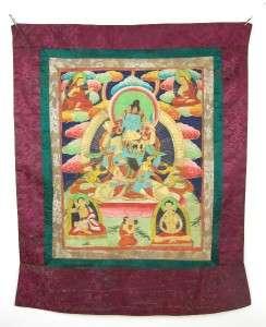 TIBETAN BUDDHA THANGKA Tantric Yab Yum Hand Painted Silk Tanka 39x31