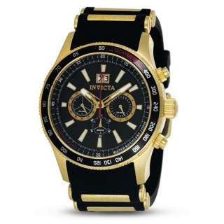 Invicta Mens 1236 Aviator Chronograph Gold plated Rubber Strap Watch