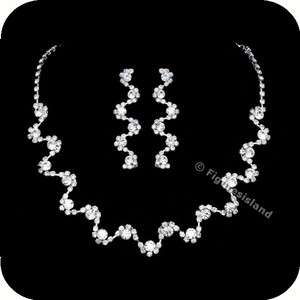 Wedding Rhinestone Crystal Choker Necklace Earrings Set 1286