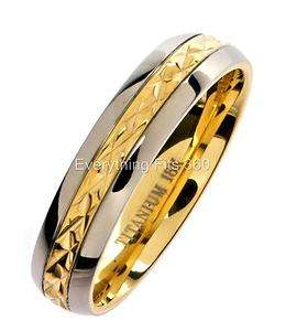 Titanium Wedding Ring 18K Gold Plated * Aerospace * Grade 5 Band 5mm
