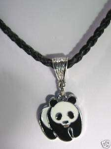 PANDA BEAR BRAIDED LEATHER NECKLACE PENDANT CHARM CHAIN