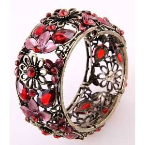 Fashion Jewelry Antique Red Acrylic Jewelry Flower Cuff