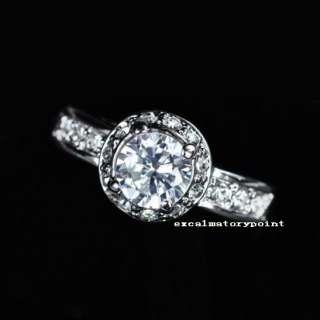 Size6 18k White Gold GP w/ Swarovski Crystal Wedding Engagement Ring