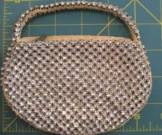 Vintage Selco Rhinestone Evening Bag Purse Prong Set Signed C 1937