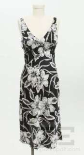 Betsey Johnson Black & White Silk Floral Print Sleeveless Dress Size S