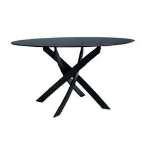 Barone Dining Table Shape: Round, Frame: Dark Brown Metal