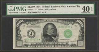 Rare 1934 $1000 One Thousand Dollar Star Note Bill, KC District, PMG