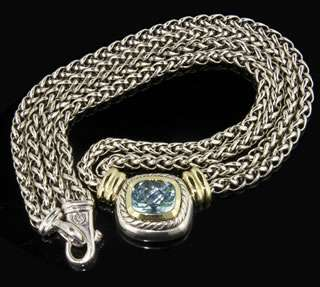 David Yurman Sterling Silver / 14k Yellow Gold Blue Topaz Necklace