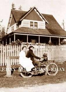 Early Harley Davidson Motorcycle Photo at Home