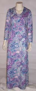 Vintage 1970s Maxi Dress Long Sleeves Cotton   S