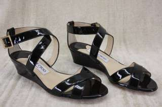 NIB Jimmy Choo Connor Wedge black Patent Criss Cross Strappy Sandals