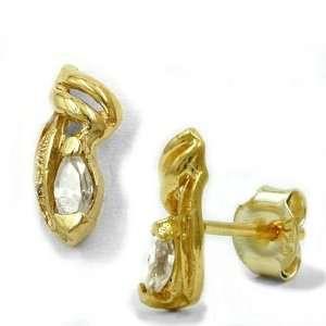 9K Gold Cubic Zirconia Filigree Earrings