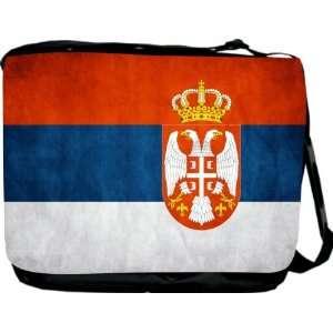 Rikki KnightTM Serbia Flag Messenger Bag   Book Bag   Unisex   Ideal