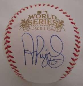 ALBERT PUJOLS SIGNED 2011 WORLD SERIES BASEBALL PUJOLS HOLOGRAM MLB