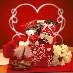 Love Valentine Gift Basket, Kiss Me Valentines Gift Set