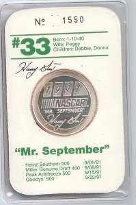 Silver Round NASCAR Driver Harry Gant September Bandit .999 One Ounce