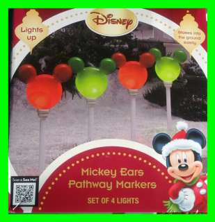 Disney Mickey Mouse Ears LED Lights Pathway Outdoor Yard Christmas