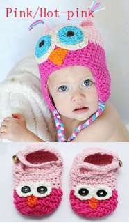 Cute Handmade Newborn Baby Crochet Knit Hats Shoes Photograph New 8
