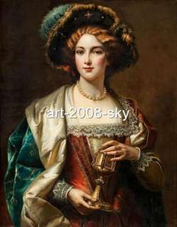 Old Master Art Antique Oil Painting Portrait Noblewoman 24X36