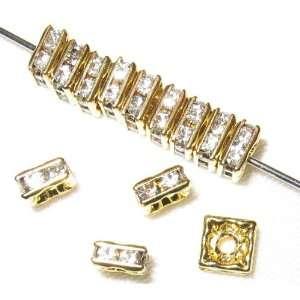 60pcs 8x8mm Swarovski Rhinestone Squaredelles Gold