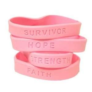 Breast Cancer Awareness Rubber Bracelet  Set of 4 Toys
